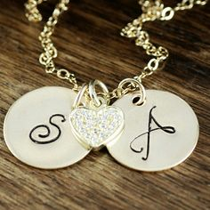 Personalized initial gold necklace with two gold filled initials and our new cubic zirconia heart charm. Initial Necklace Gold, Initial Jewelry, Hand Stamped Jewelry, Personalized Necklace, Gifts For Wife, Heart Charm, Valentine Day Gifts, Initials, Pendant