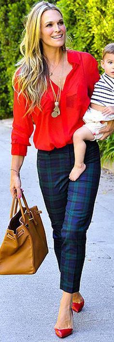 Who made Molly Sims' tan handbag and blue plaid pants? Pants – Loft  Purse – Hermes