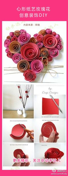 The origami 〖heart-shaped paper-roses creative decorative DIY〗 folding is very simple . I prefer the twigs with the flowers, but the wreath is pretty too! Flower Crafts, Diy Flowers, Fabric Flowers, Paper Flowers, Felt Flowers, Tutorial Rosa, Rose Tutorial, Diy Paper, Paper Crafts