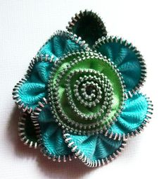 Turquoise and Lime Green Floral Brooch / Zipper Pin by ZipPinning 2862 by ZipPinning on Etsy
