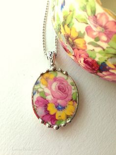 Broken china jewelry pendant necklace antique Royal Winton Summertime chintz china