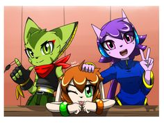 Group picture with our 3 favorite girls. In Freedom Planet Legends, Lilac does not have white earring attachment on her hearing aid it will later be giv. Sonic The Hedgehog, Planet Drawing, Character Art, Character Design, Comics Maker, Sonic Fan Characters, Sonic Fan Art, Cute Creatures, Furry Art