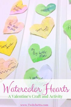 This Valentines craft is a fun preschool craft. These watercolor hearts make the perfect prop for a fun Valentines activity for the whole family.  It will quickly be your new Valentine's day tradition.