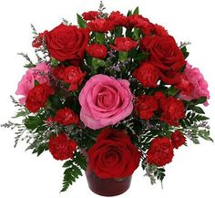 This is a favourite! Red flowers with some pink roses - absolutely stunning!