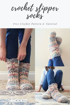 Cozy crochet slipper socks Click through for the free pattern and video tutorial BHooked Crochet FreeCrochetPattern Easy Crochet Slippers, Crochet Slipper Boots, Crochet Socks Pattern, Crochet Cozy, Quick Crochet, Slipper Socks, Diy Crochet, Crochet Patterns, How To Crochet Socks