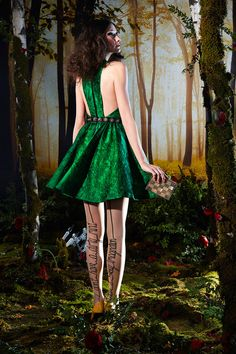 Jewel-toned greens and our alice + olivia embellished tights. #nyfw #aoFall14