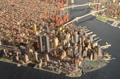 Queens Museum of Art | The Panorama of the City of New York | tight overview from west of lower Manhattan, including the twin towers of the World Trade Center, the Brooklyn & Manhattan Bridges, etc | por Chris Devers