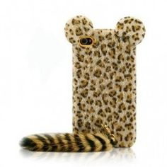 Cute 3D Tiger Leopard with Soft Feather Tail Case Cover Skin For iPhone 4/4S/5