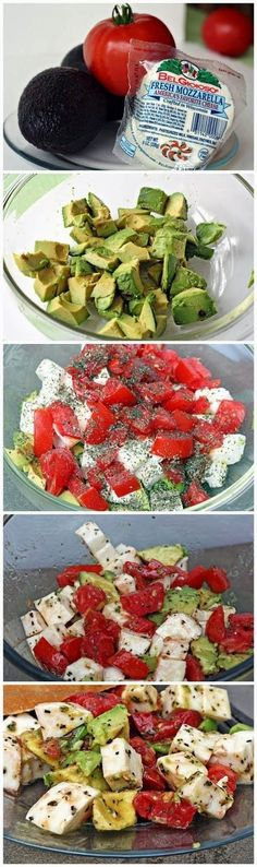 Mozzarella Avocado Tomato Salad Ingredients: 2 avocados (peeled, pitted, & cubed) 2 - 3 tomatoes (cubed) 1 ball fresh mozzarell...
