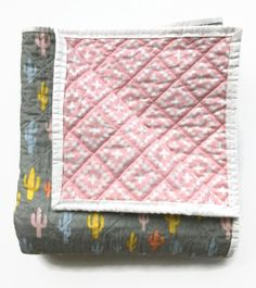 Modern Baby Quilt Blanket-Girl-Handmade Baby Quilt-Cactus Aztec-Grey Pink-Boho Southwestern Nursery-Ready to Ship Baby Shower Gift by skybluepinkstudio on Etsy https://www.etsy.com/listing/239043100/modern-baby-quilt-blanket-girl-handmade