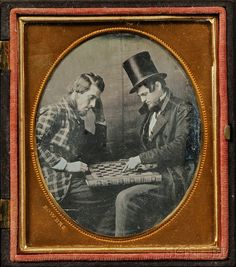 Sixth Plate Daguerreotype of Two Men Playing Checkers