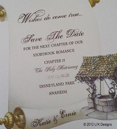 Snow White Fairy Tale - Save the Date, Bridal Shower or Invitation Fairytale Wedding Invitations, Fairytale Weddings, Bridal Shower Invitations, Disney Weddings, Plan My Wedding, On Your Wedding Day, Wedding Ideas, Wedding Stuff, Party Planning