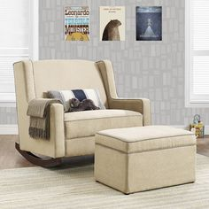 Baby Rocker Nursery Double Wide Rocking Chair Taupe Upholstered Furniture Taupe | Baby stuff | Pinterest | Baby rocker Rocking chairs and Rockers & Baby Rocker Nursery Double Wide Rocking Chair Taupe Upholstered ...