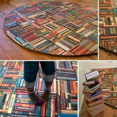 Pamela Paulsrud gave these books a second life, as a rug! - Pamela Paulsrud gave these books a second life, as a rug! Recycled Rugs, Recycled Books, Recycled Crafts, Recycled Fabric, Recycled Materials, Old Book Crafts, Recycling, Book Folding, Book Projects