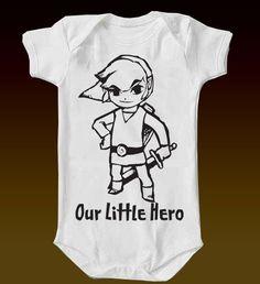 Legend of Zelda Our Little Hero Onesie by eagleeyedesigns. $15.00, via Etsy.