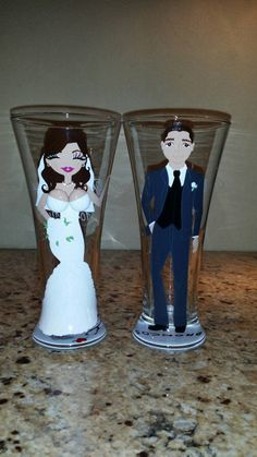 Mr and Mrs Bride Groom Beer wine Glass Champagne by  ©shannonscloset Mr and Mrs, Bride, bride and groom Pilsner toasting glasses, Groom, Beer, wine, Glass, Pilsner beer glasses, Champagne glasses, Toasting Wedding Glasses,Bridesmaid, Groomsmen gifts, Bridal party, Cups all hand painted no vinyl or stickers. Makes a great groomsman proposal, will you be my groomsman? Anniversary gift, wedding reception, favors, rehearsal dinner wine glasses Be My Groomsman, Groomsman Gifts, Wedding Glasses, Champagne Glasses, Gift Wedding, Wedding Reception, Pilsner Beer, Groomsmen Proposal, Party Cups