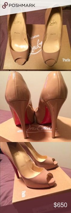 Christian Louboutin Nude Peep Toe Heels Worn a couple times , perfect condition ! Nude Peep Toe and goes perfect with everything and amazingly comfortable Christian Louboutin Shoes Heels