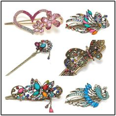 Colorful Women Retro Crystal Butterfly Flower Hairpins Hair Stick Hair Clip Yk