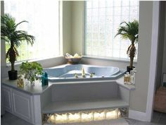 24 Fabulous Drop-In Tub Ideas Corner Drop In Luxury Bathtub Jacuzzi Bathtub, Bathtub Decor, Luxury Bathtub, Bathtub Ideas, Big Bathtub, Bathtubs, Corner Jetted Tub, Corner Tub, Bathroom Ideas Uk