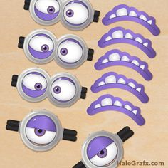 Are you looking to add evil minions to your Despicable Me 2 party theme. Use these free printable Despicable Me 2 evil minion goggles and mouths to decorate treat bags, balloons, a home made piñata or whatever other creative use you can think of. Minions Eyes, Despicable Me 2 Minions, Evil Minions, Funny Minion, Minion Theme, Minion Birthday, Boy Birthday, Purple Minion Party, Purple Minion Costume