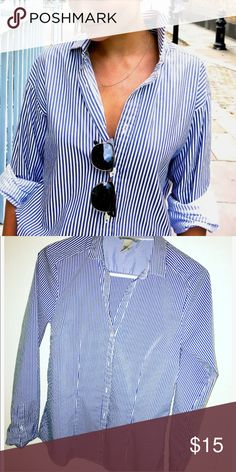 H and m striped button down top Great condition worn a couple times no flaws tag says size 12 can fit medium or large H&M Tops Button Down Shirts
