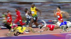 Greyhound Art -  image photoshopped by jeffrey hunteriGREYHOUNDS RUNNING WITH OLYMPIC RUNNERS.  HOPEFULLY THE NEXT OLYMPICS WILL HAVE AN INTEGRATED RACE.  FOR NOW WE HAVE TO SETTLE FOR A PHOTOSHOPED VERSION