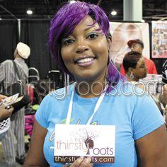 short black hair with purple highlights