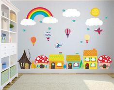 Bebe Diva - Nursery Wall Decals and Kids Art Prints by BebeDivaBoutique Kids Room Wall Decals, Kids Room Paint, Art Wall Kids, Class Decoration, School Decorations, Balloon Wall, Air Balloon, Daycare Design, School Murals