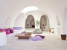 Perivolas : Photos of Pantone's Color of the Year, Radiant Orchid, in Real Life : Condé Nast Traveler   Santorini, Greece