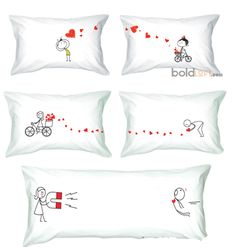 You should make these for your bed! Cute Pillows, Bed Pillows, Cushions, Couple Pillowcase, Sewing Projects, Projects To Try, Fabric Painting, Decorative Pillows, Pillow Covers