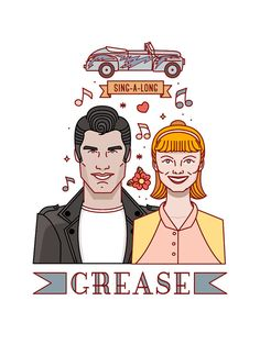 GREASE ILLUSTRATION. Grease. Poster Grease. Movie Poster. Grease Movie Print. John travolta. Christmas gift. Wall Art Print. Gift ideas.