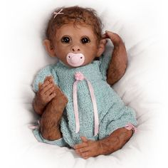 Reborn Baby Monkey With Real Touch Vinyl Skin And Cuddly Cloth Realistic Body The Bradford Exchange Ashton Drake Annabelles Hugs Poseable Lifelike Baby Girl Monkey Doll by Ina Volprich