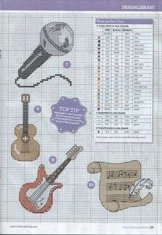 Cross-stitch Musical Things, part 1.. with the color chart... A CANTAR!!