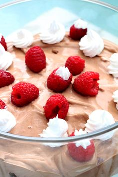 Chocolate Raspberry Trifle is rich and creamy. The french vanilla topping mixed with chocolate pudding are such a treat. Add some brownies.