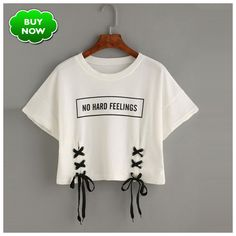 new summer crop tops women t shirt letter print short sleeve lace up cotton loose sexy white t-shirt dance tee tops Shop Letter Print Lace-up Crop T-shirt online. SheIn offers Letter Print Lace-up Crop T-shirt & more to fit your fashionable needs. Crop Top And Shorts, Crop Top Outfits, Cute Casual Outfits, Stylish Outfits, Crop Tee, T Shirt And Shorts, Casual Shorts, Girls Fashion Clothes, Teen Fashion Outfits