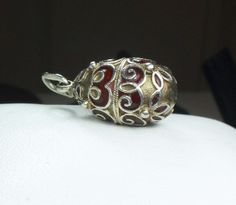 Vintage Russian Silver Egg Charm Faberge Style by BelmarJewelers