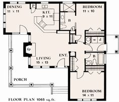 1063 square feet, 2 bedrooms, 2 batrooms, on 1 levels, Floor Plan Number 1