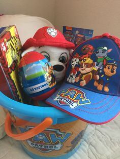 The perfect Easter basket for little kids who love paw patrol you can also make it with other characters or shows
