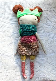 "pixie little lu doll - 13""ish rag doll, cloth doll with russet wool hair, crochet woolen dress, dark pink, light brown, teal wool scarf neon"