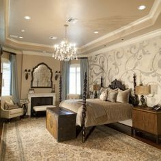 Classic Master Bedroom Designs with Wall Murals