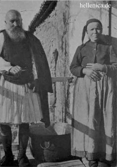 Pair from Karytaina, around 1917 Royal Guard, Greeks, Folklore, Greek Costumes, Past, Nostalgia, Corfu, History, Military