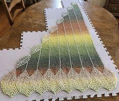 ABC Knitting Patterns - Turning Leaves Brioche Shawl
