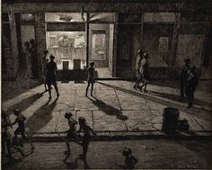 """Spring Night, Greenwich Village"" Martin Lewis created this shadowy etching of an ordinary Village street in 1930. // According to Artnet.com: ""At the time Lewis made Spring Night, Greenwich Village he lived at 111 Bedford Street (which may be the street depicted in the print), in the Village, and was immersed in the intellectual and artistic life of the neighborhood."""
