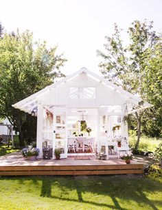 kasvihuone,piha,puutarha,lasiterassi,terassi Outdoor Garden Rooms, She Sheds, White Barn, Conservatory, Dream Garden, Gazebo, House Plans, Planters, Things To Come