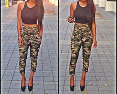 Black crop top, camo jogger pants, strappy heels