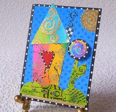 ACEO  original collage art card  wonky house by RockInAHeartPlace