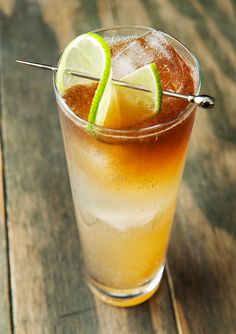 ginger shrub dark and stormy cocktail recipe | use real butter (dark rum, lime, club soda)