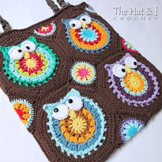 CROCHET PATTERN Owl Tote'em a colorful owl crochet by TheHatandI