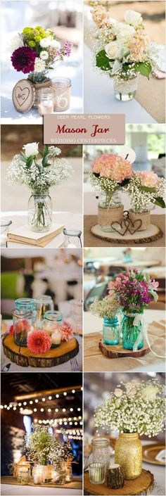Rustic mason jar wedding centerpieces / www.deerpearlflow… Rustic mason jar wedding centerpieces / www. Wedding Centerpieces Mason Jars, Rustic Wedding Centerpieces, Wedding Decorations, Centerpiece Ideas, Mason Jar Weddings, September Wedding Centerpieces, Wood Centerpieces, Diy Wedding, Wedding Flowers
