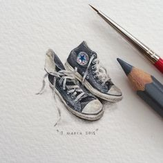 "Lorraine Loots, an expert at creating tiny art ""for ants,"" is back with a new series of mind-bogglingly small (and beautiful) paintings of animals, space, and her favorite books. Lorraine, Illustration Arte, Kunst Inspo, Mini Paintings, Miniature Paintings, Converse All Star, Converse Style, Converse Sneakers, Beautiful Paintings"